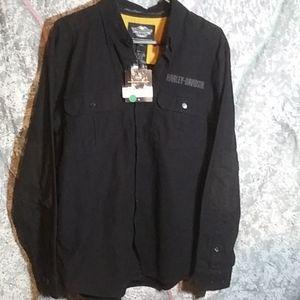 Harley Davidson Brushed Twill Button Up LS Shirt
